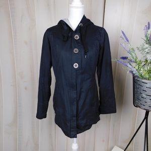 Prana Black Button Babydoll Raincoat